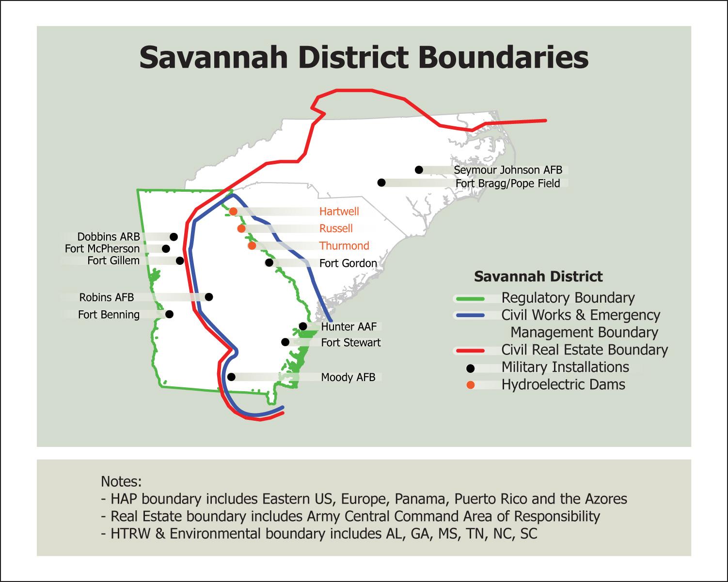 Savannah District About District Boundaries - Savannah-on-us-map
